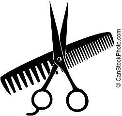 Vector Scissors, Comb Black Silhouette salon icon
