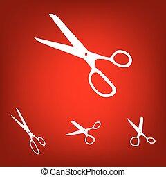 Vector scissors on white background set.