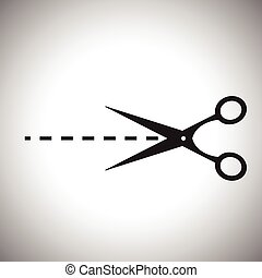 Vector scissors with cut lines isol