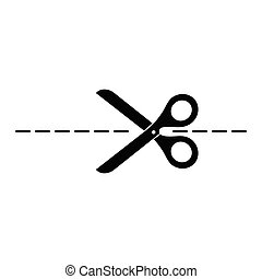 Vector scissors with cut lines isolated on white background. Template for design