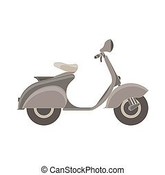 Vector scooter flat icon isolated side view. Bike illustration vehicle city design moped motorcycle transport