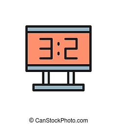 Vector scoreboard flat color icon. Isolated on white background