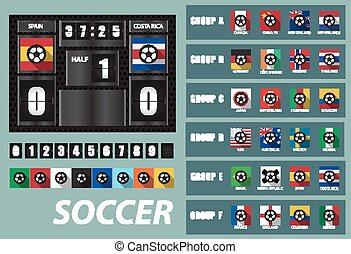 vector Scoreboard with National Team Flags Template and Set of flip Numbers,woman world cup team group