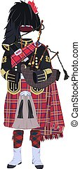 Vector illustration of scottish traditional piper uniform and bagpipes. Flat style design.