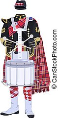 Vector scottish traditional clothing with drum - Vector...