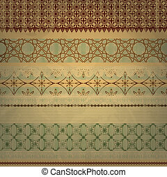vector scrap template, vintage seamless patterns, can be used separetely, old paper texture