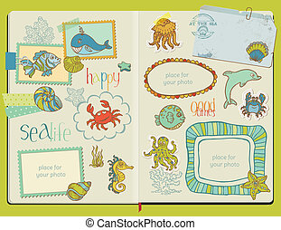 Vector Scrapbook Design Elements - Marine life Set -  hand drawn in notepad