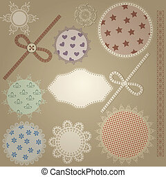 vector scrapbook design elements,  patterns can  be used separately: bows, button, napkins, and border