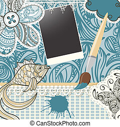 vector scrapbook design pattern on seamless  background