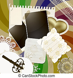 vector scrapbook design with abstract retro background,vintage key, napkins, shits of paper, golden  heart, frames, elements can be used separately