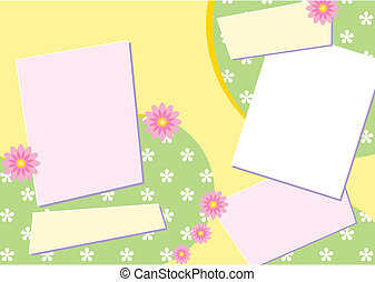Vector Scrapbook Page Layout featuring stylized flowers