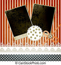 vector scrapbook template design with two frames, bow, button and laces, elements  can be used separately