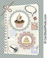 vector scrapbook with nakin and cakes, toys, and other...