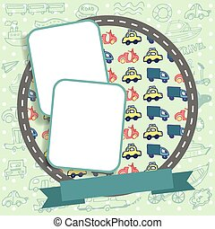 Vector scrapbooking layout background with cute doodle cars
