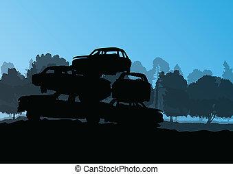 vector, scrapyard, concepto, viejo, cementerio, automóvil,...