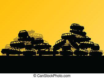 vector, scrapyard, concepto, viejo, cementerio, automóvil, metal, ilustración, reciclable, utilizado, ecología, plano de fondo, coches, industrial, paisaje