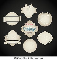 Vector scratched vintage labels set