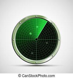 vector, screen., radar, illustrati, groene, militair, pictogram, liggen