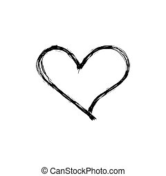 Vector scribble heart, hand drawn icon isolated on white background, black outline drawing, simple sketch.