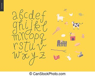 Vector script alphabet 7