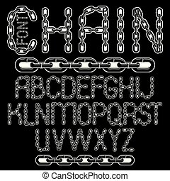 Vector script, modern alphabet letters set. Upper case creative font  made with steel chain link, joined link.