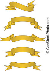 Vector Scroll Banner Set - Set of detailed gold scroll...