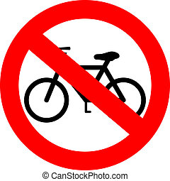 vector, señal, no, bicicleta