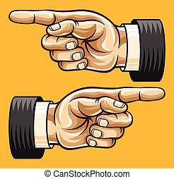 vector, señalar, ilustración, mano