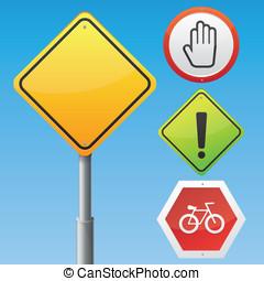 vector, señales carretera, con, diferente, iconos