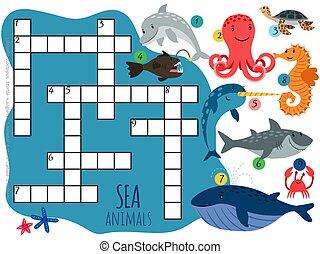 Vector sea animals crossword template with cartoon characters