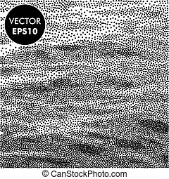 Vector Sea Background. Dotted Waves. Abstract Engraving Illustration. Black and White.