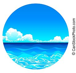 Vector Sea Background in circle