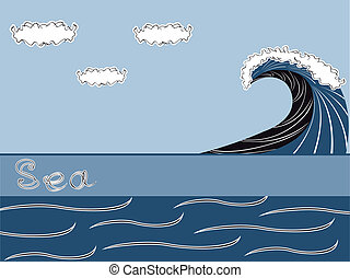 Vector sea background with wave