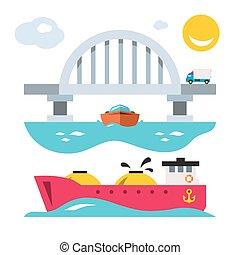 Vector Sea bridge and shipping. Flat style colorful Cartoon...
