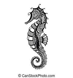Vector Sea Horse - Vector Illustration of an Abstract...