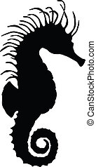 Sea horse silhouette. Vector eps8