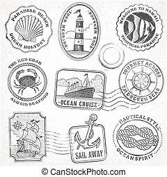 vector sea journey vintage stamps