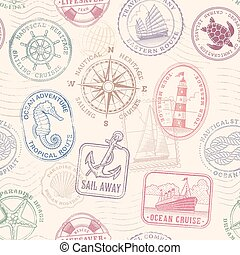 vector sea journey vintage texture - Vector Seampless...
