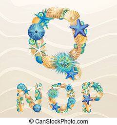 Vector sea life font on sand background. Check my portfolio...