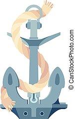 vector sea maritime Anchor, rope