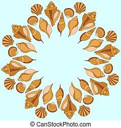 Vector sea shells ring. Summer illustration