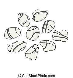 Vector sea stones collection on white background