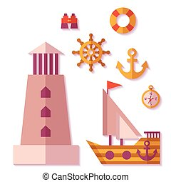 Vector sea travel icons in flat style