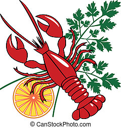 Vector seafood dinner - Red lobster or homar with lemon and...