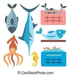 Vector Seafood. Flat style colorful Cartoon illustration.
