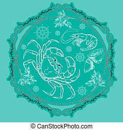 Vector seafood label with silhouette crab, shrimp lemon and dill