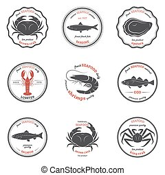 Vector seafood silhouettes, labels, emblems. Set of templates for stores, markets, food packaging. Seafood illustration.