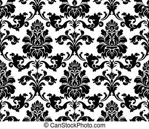 vector., seamless, ダマスク織, pattern.