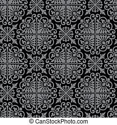 vector., seamless, 다마스크 천, 패턴