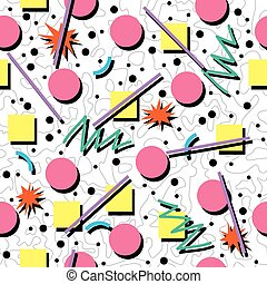 vector seamless 80s or 90s chaotic background pattern